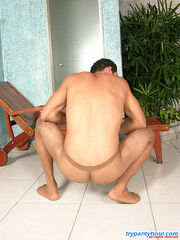 Men getting fucked while wearing panties pics Kinky guy in barely visible pantyhose having hot cock-break on the lounge