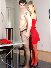 Cross dressed sissies dominated by their wives Florence&Adam pussy clothed guy straponfucked